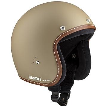 Casco de moto Bandit tipo jet, con forro interior de algodón, correa para gafas
