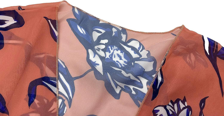 Finoceans Womens Long Kimono Cardigan Floral Chiffon Beach Cover Up