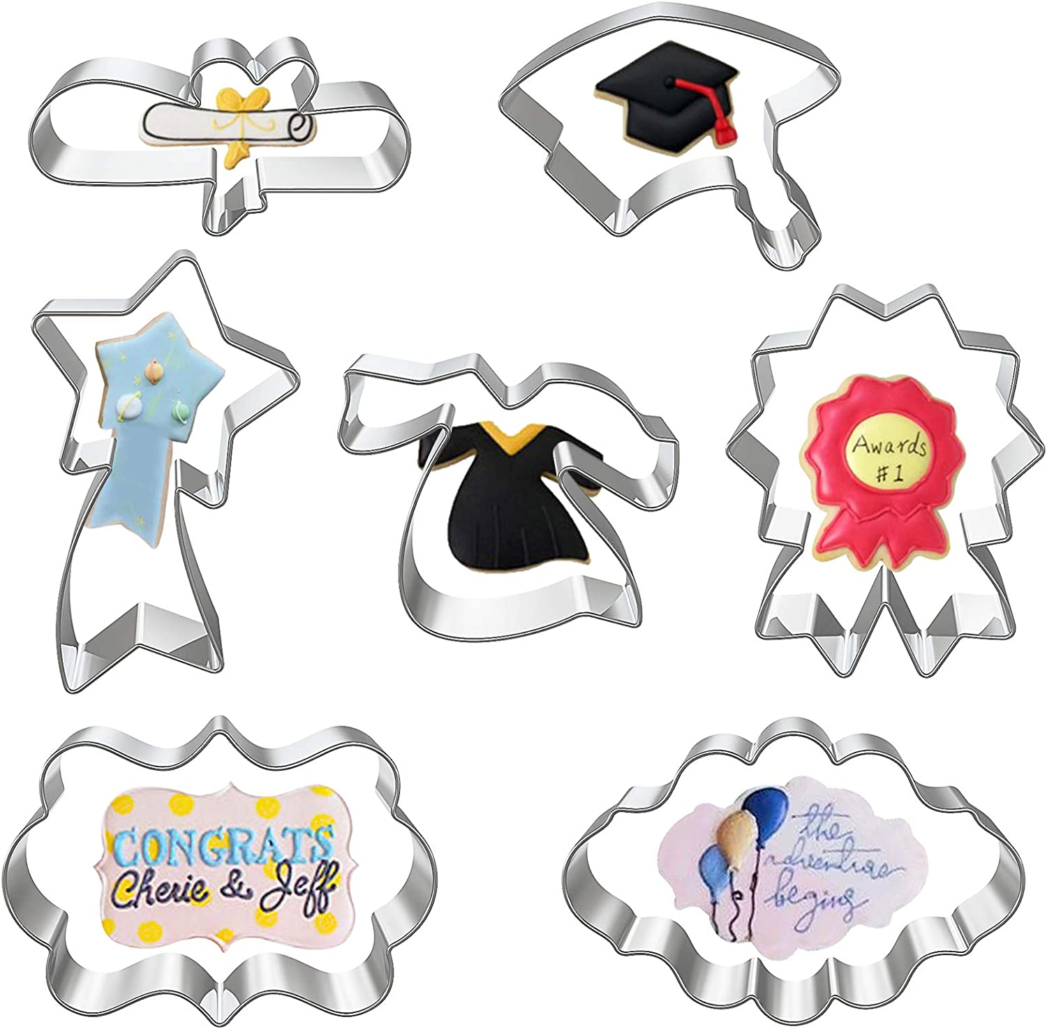 Hibery 7 Pcs Graduation Cookie Cutter - Bachelor Uniform, Bachelor Hat, Certificate, Medal, Star Trophy, Blessing Boxes Star Cookie Cutters for Cakes, Biscuits, Graduate Party, Decoration Supplies