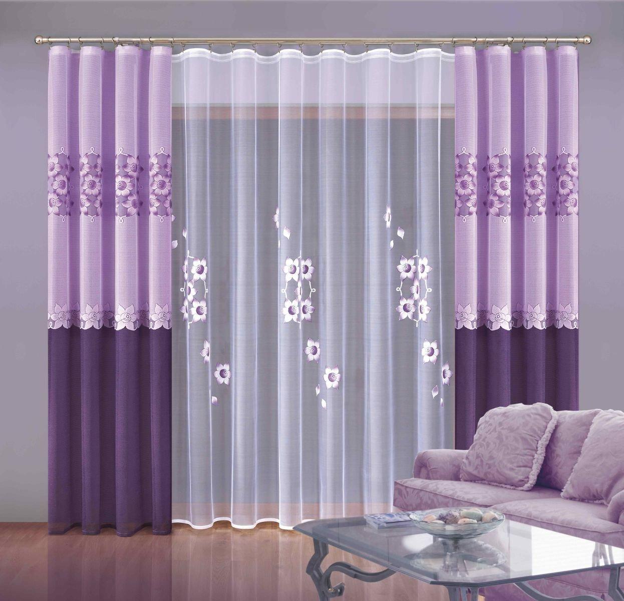 Unbekannt Vorhang - Gardinen - Set - Deckogardinen - 2 x 150x250 + 300x250 - HELL und DUNKEL LILA - mit Blumen bestickt