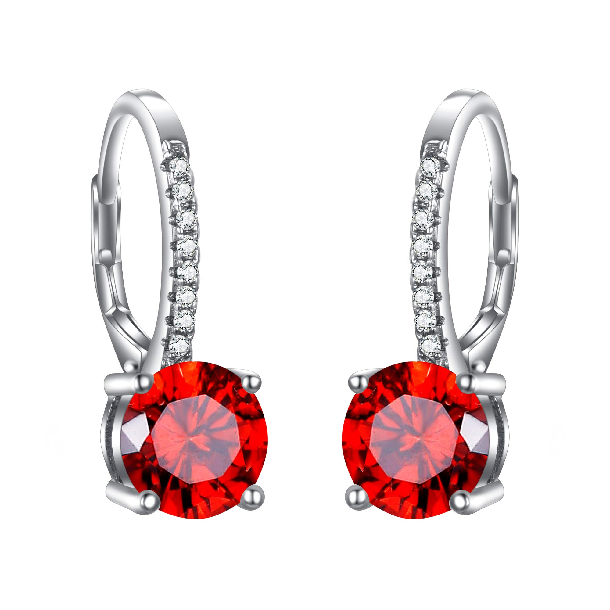 EVER FAITH 925 Sterling Silver Round Cut CZ Prong Setting Gorgeous Bridal Prom Leverback Dangle Earrings product image