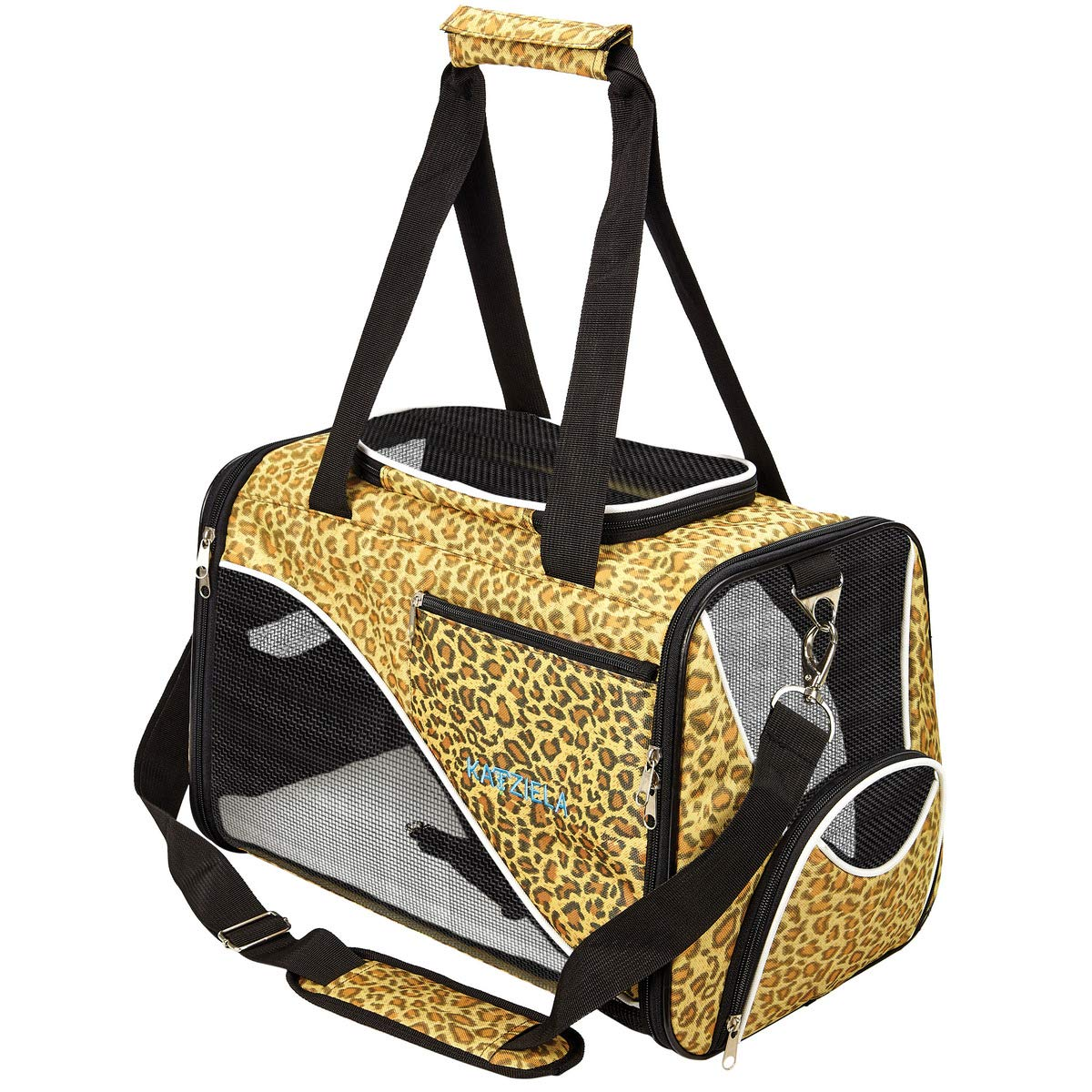 Leopard Print Katziela Pet Carrier Soft Sided, Airline Approved Carrying Bag Small Dogs Cats, Front, Side Top Mesh Ventilation Windows, Storage Pocket Safety Leash Hook Leopard Print