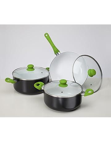 Batería de cocina ecológica Cuberland Royal, revestimiento cerámico, 6 piezas, válida para inducción
