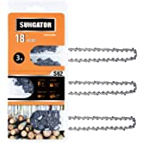 """SUNGATOR 3-Pack 18 Inch Chainsaw Chain SG-S62, 3/8"""" LP Pitch - .050"""" Gauge - 62 Drive Links, Compatible with Craftsman, Ryobi"""