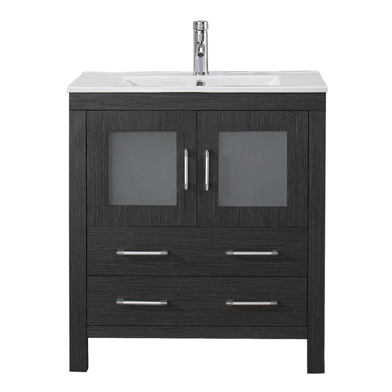 Virtu USA KS-70030-C-ZG-001 Dior 30'' single Bathroom Vanity with White Ceramic Top and Square Sink with Brushed Nickel Faucet and Mirror, Zebra Grey by Virtu USA