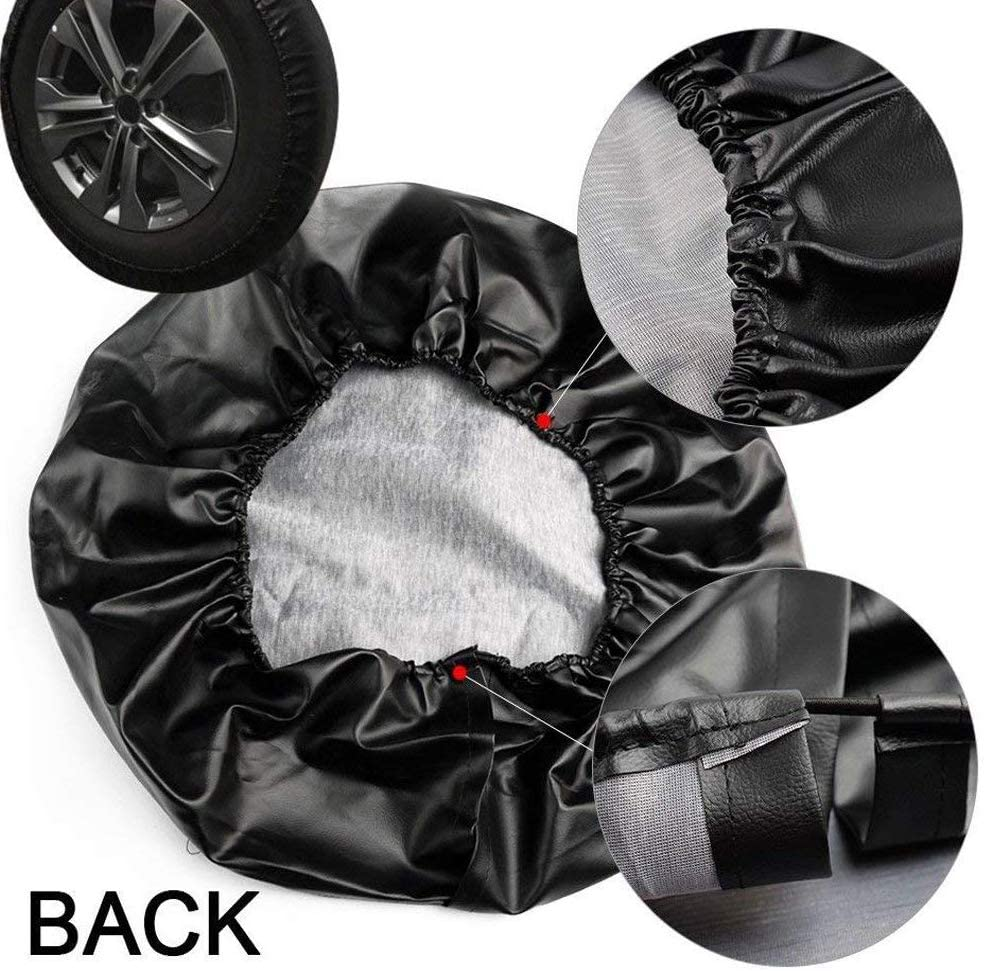Universal Soft Spare Tire Cover Leather Waterproof Dust-Proof Thicken Wheel Protectors Covers for Jeep Wrangler Liberty Sahara Hummer Toyota FJ SUV Black BG Eagle 1, 27-29,15in
