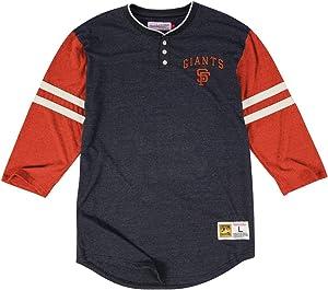 "Mitchell & Ness San Francisco Giants ""Home Stretch"" T-Shirt - MLB 3/4 Sleeve Henley Shirt"