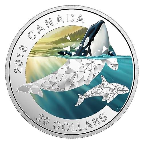 The Great British Coin Hunt CANADA, géométrique FAUNE - Orca, argent reproduction $20 pièce de monnaie