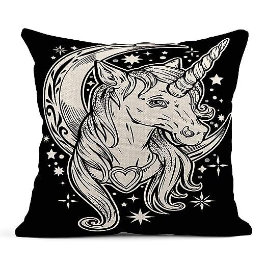 Kinhevao Cojín Animal Lindo Unicornio Tatuaje Extraño ...