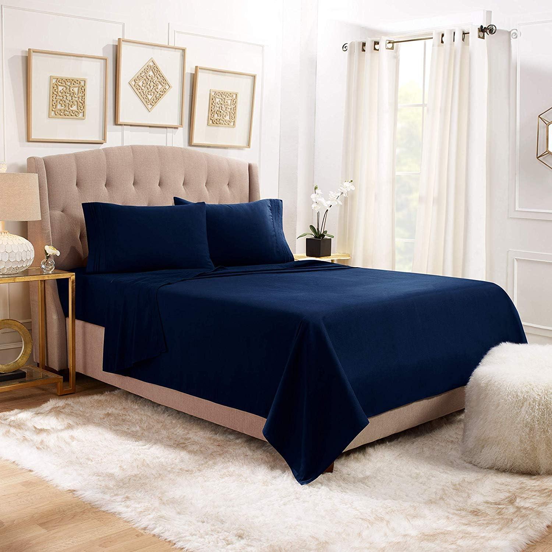 1800 Count 4 Piece Deep Pocket Soft Bed Sheet Set Clara Clark Queen Taupe