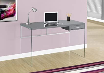 Amazoncom Monarch Computer Desk Glossy Grey Kitchen Dining - Glossy grey kitchen