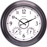 """AcuRite 75133M LED Illuminated Outdoor Clock with Temperature and Humidity, 24"""", Black"""