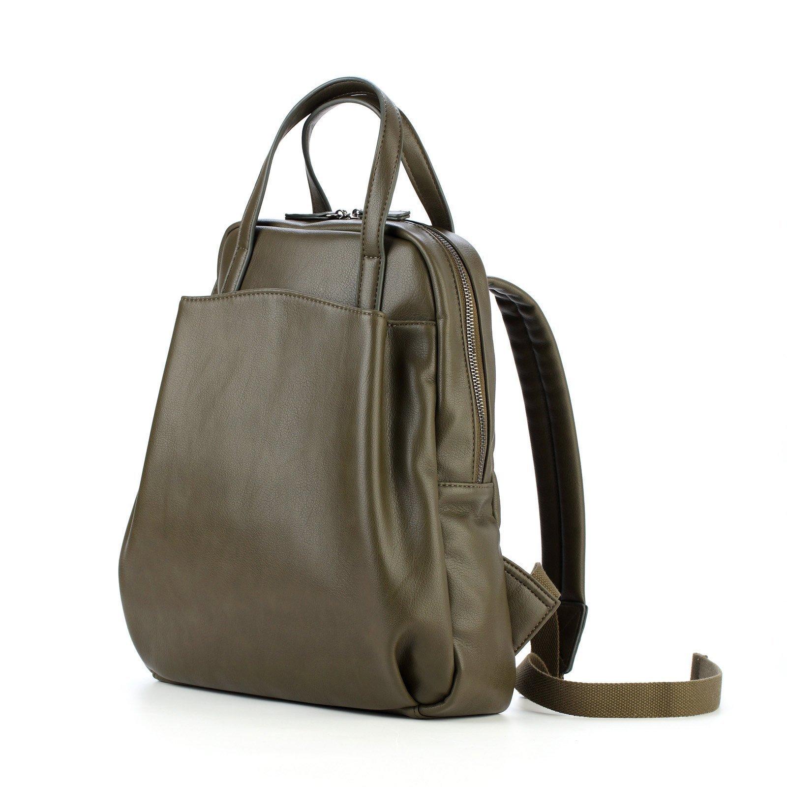 Women Soft Leather Purse Backpack Fashion Vintage Bags Lightweight School Ladies Travel Message Shoulder Handbag (Blackish green)