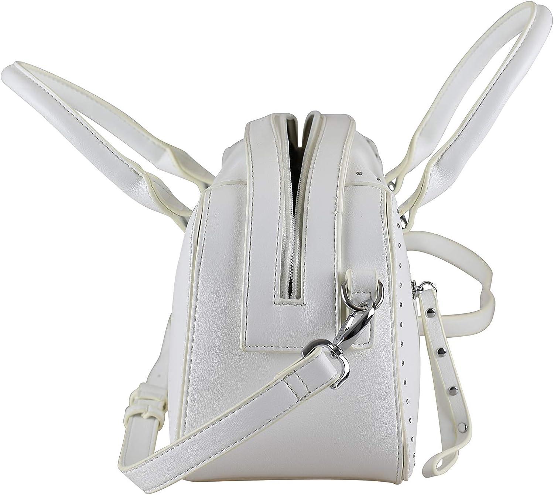 Alessandro Estrella - Borsa a tracolla con eleganti microborchie, 28 x 19 x 13 cm Bianco
