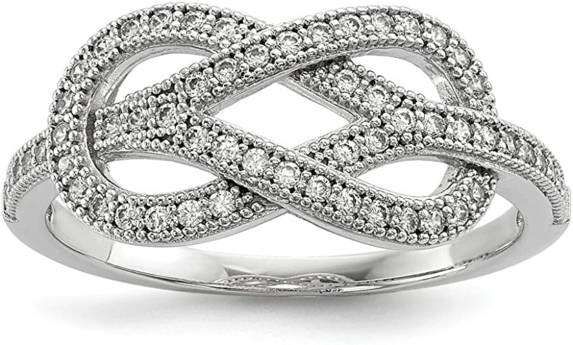 Top 10 Jewelry Gift Sterling Silver /& CZ Brilliant Embers Polished Love Ring