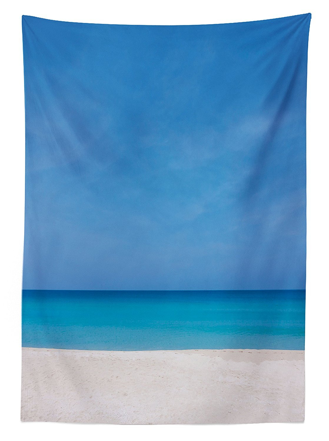 vipsung Ocean Decor Tablecloth Sandy Paradise Beach with No One Around Relax Off Gone Away Theme Print in Tropical Land Dining Room Kitchen Rectangular Table Cover Blue Beige