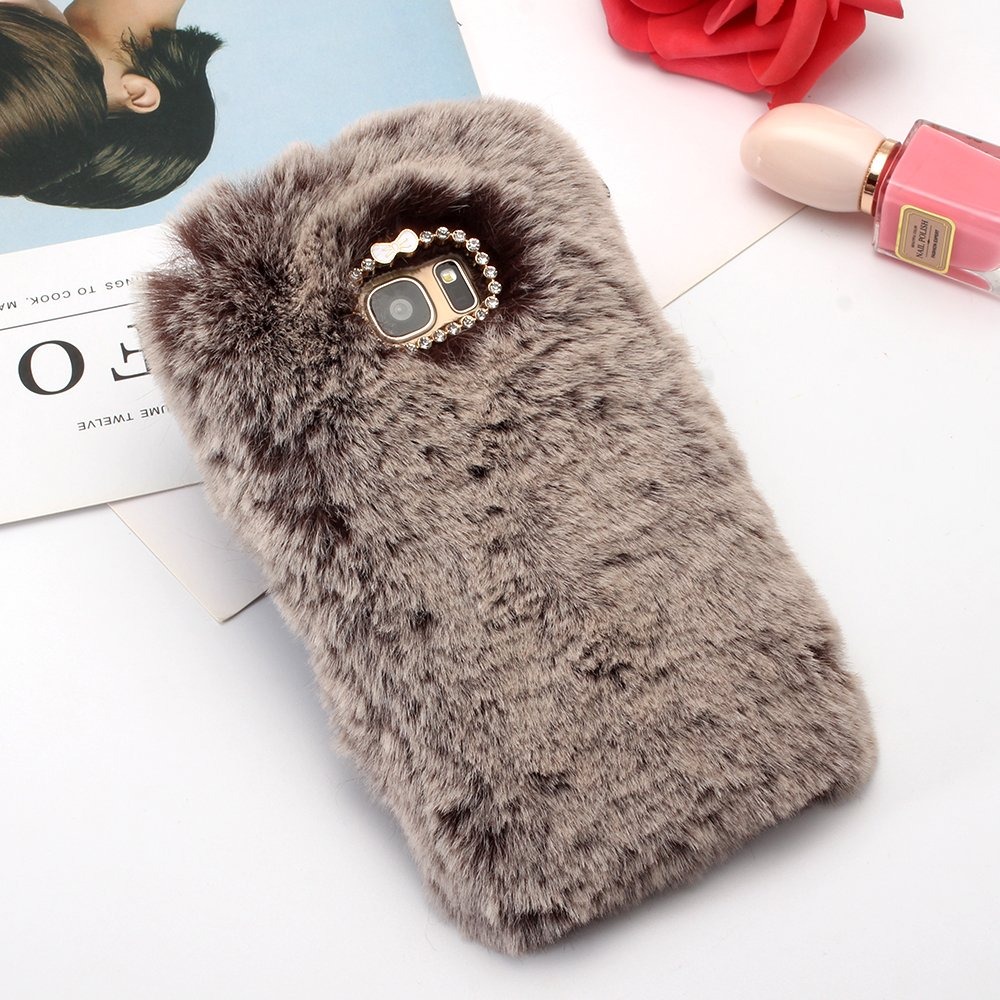 Cases for Galaxy Note 8, SevenPanda 3D Diamond Rhinestone Bling Crystal Shining Bow Transparent TPU Silicone Soft Warm Fluffy Rabbit Hair Furry Case Thin Shell for Samsung Galaxy Note 8 - Wine Red Note8-MaoMaoTu-ShenHui