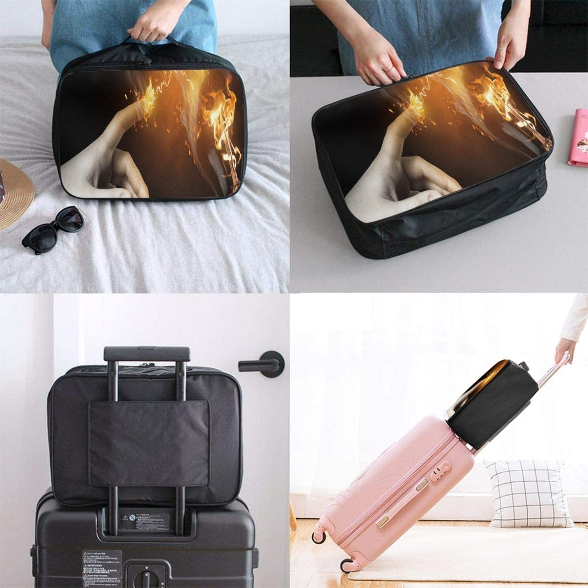 Burning Light Bulb Travel Carry-on Luggage Weekender Bag Overnight Tote Flight Duffel In Trolley Handle