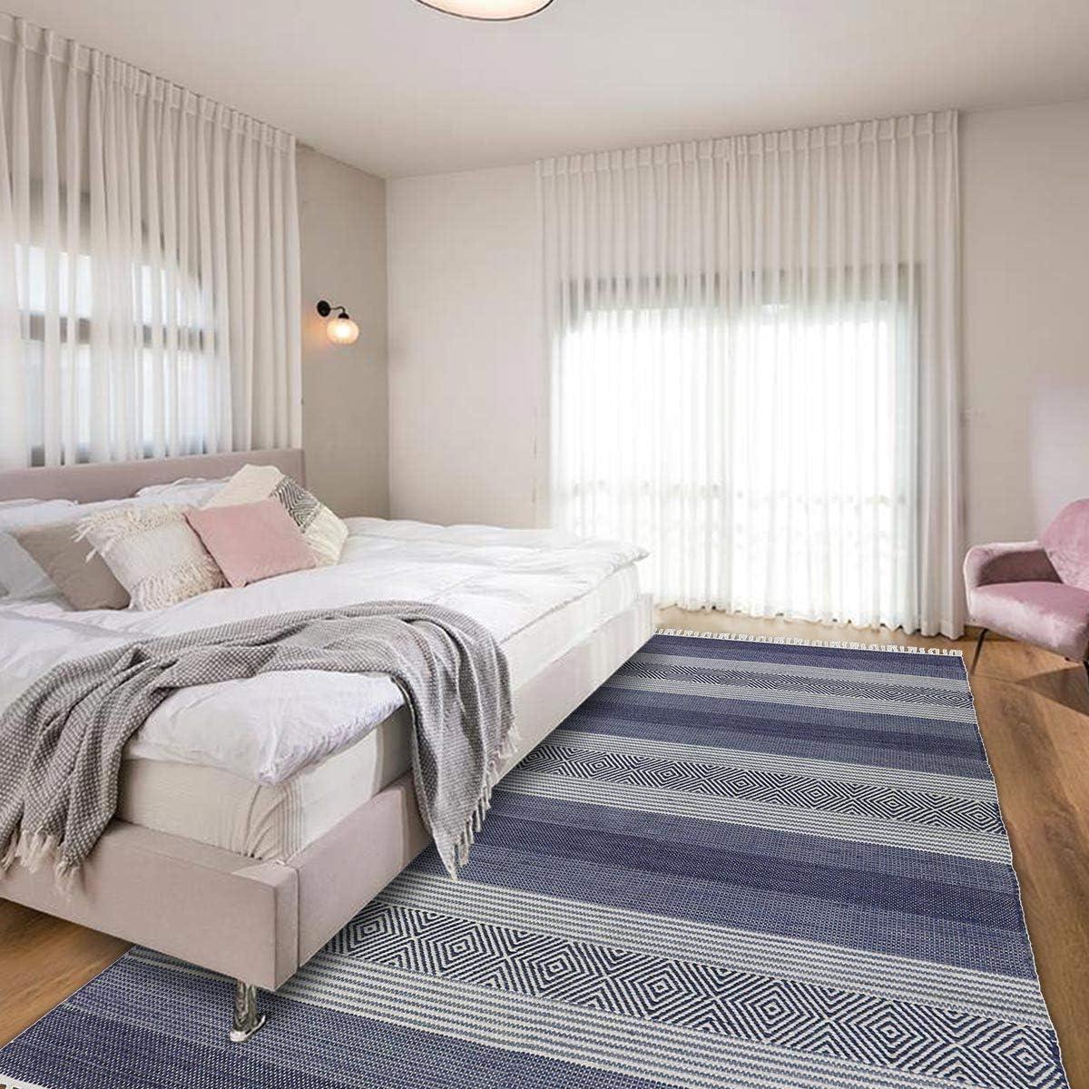 We Rugs Beautiful Area Rugs for Living Room Decor, Modern Geometric Handmade Area Rug, Blue 9 x 12