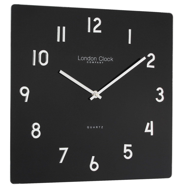 Glass Wall Clock Finish Black Amazoncouk Kitchen Home