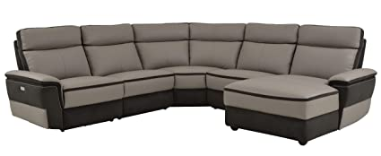 Beau Homelegance Laertes Two Tone 5 Piece Power Reclining Sectional Sofa With  Right Side Chaise Top