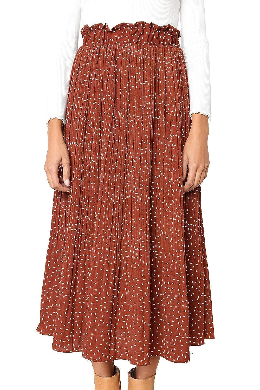 e413362546 PRETTYGARDEN Women's Fashion High Elastic Waist Polka Dot Printed Pleated  Midi Vintage Skirts with Pockets