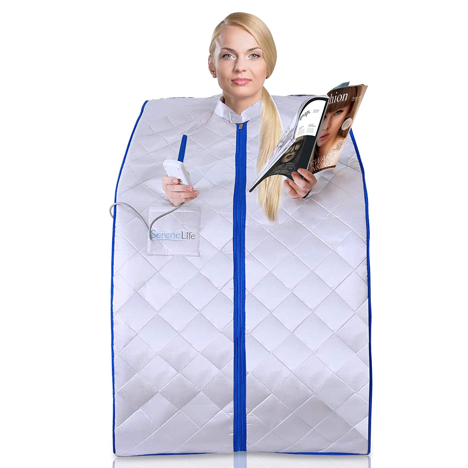 SereneLife Portable Infrared Home Spa One Person Sauna Heating Foot Pad and Chair