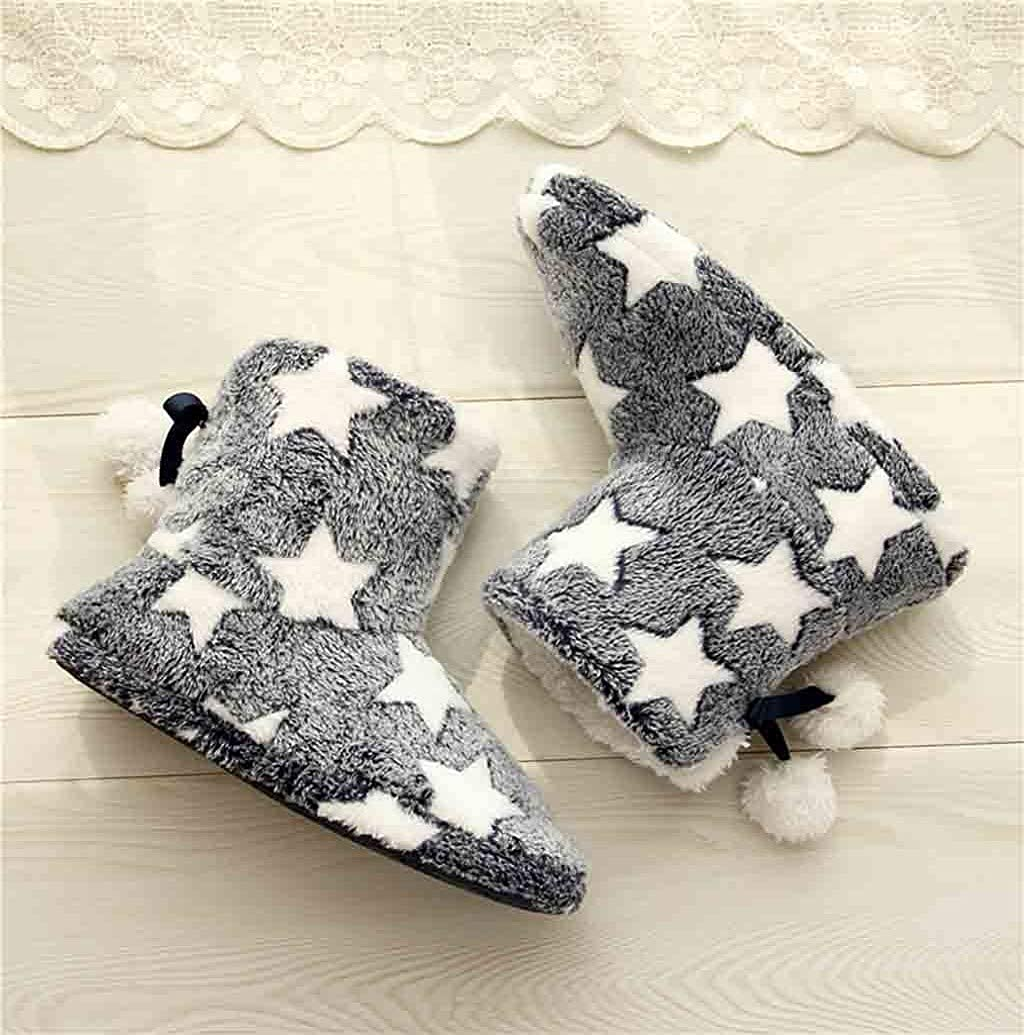 Photno Women Home Cotton Shoes Stars Print Boots Short Plush Lining Slippers