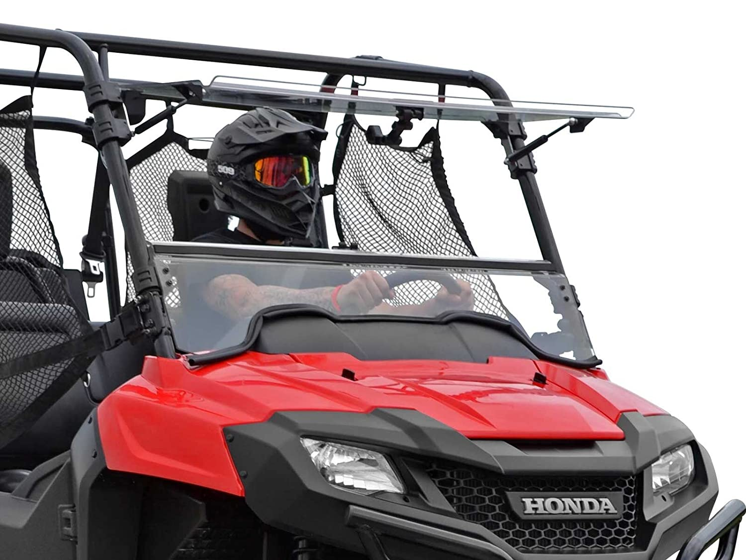 or Closed! Hard Coated for Extreme Durability and Long Life Vented - Can be Set to Open SuperATV Heavy Duty Scratch Resistant 3-IN-1 Flip Windshield for Honda Pioneer 700//700 4 2014+