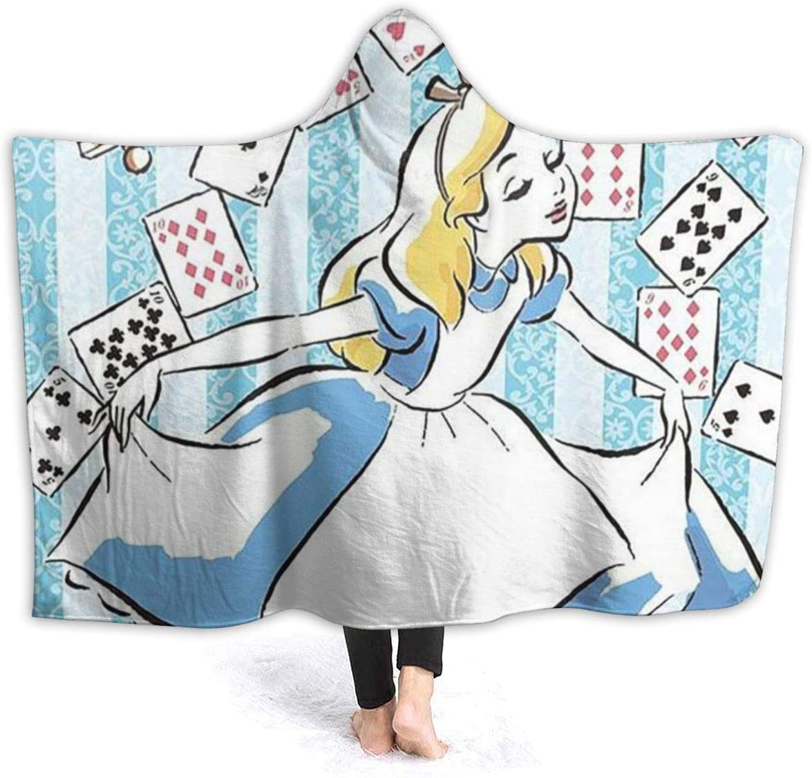 Alice in Wonderland Hooded Blanket for Bedroom for Women Men Boys Girls Gifts 80