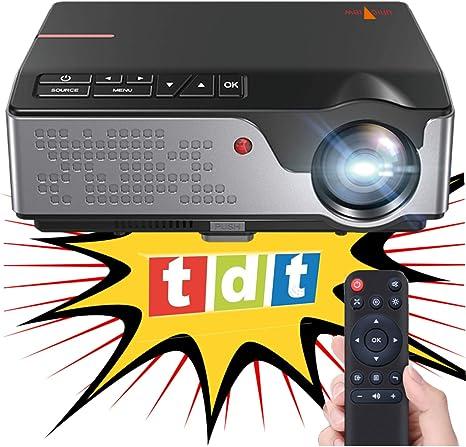Proyector Full HD Nativo 1080P con TDT, Unicview FHD950 (1920x1080) 6.500 lúmenes LED, Proyector Maxima luminosidad Portátil LED Cine en casa AC3 HDMI USB MKV Sin Input Lag (Full HD con TDT):
