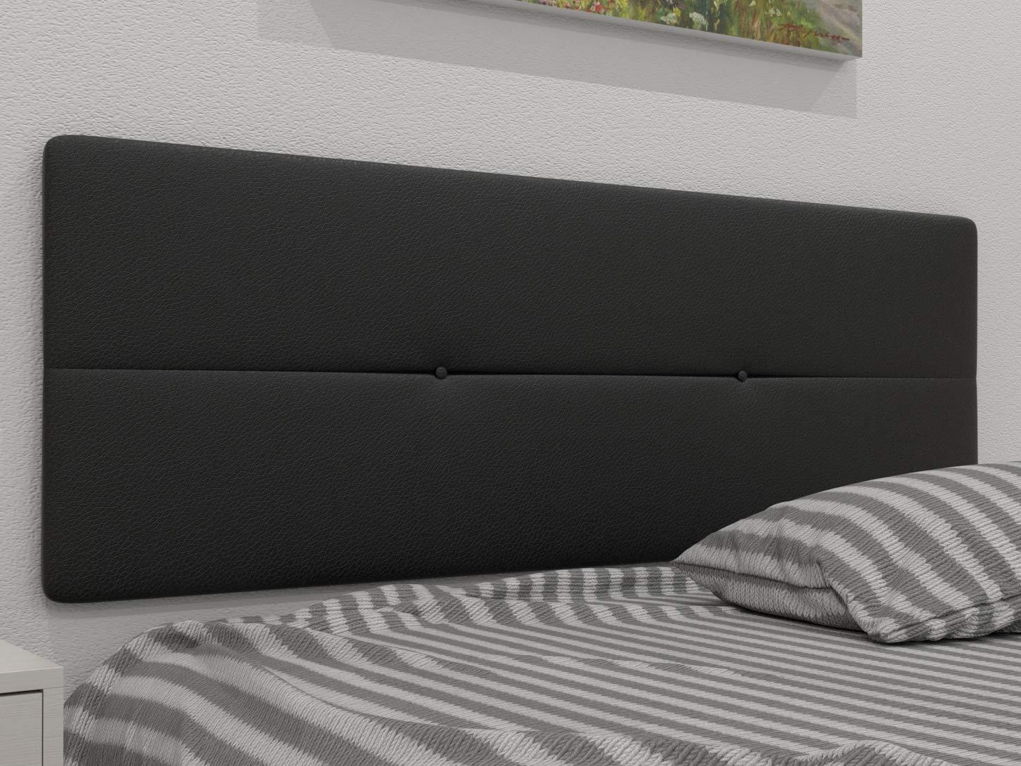 LA WEB DEL COLCHON Cabecero de Cama tapizado Acolchado Julie 145 x 55 cms. para Camas de 135 y 140 cms. Polipel Color Negro. Incluye herrajes para Colgar ...