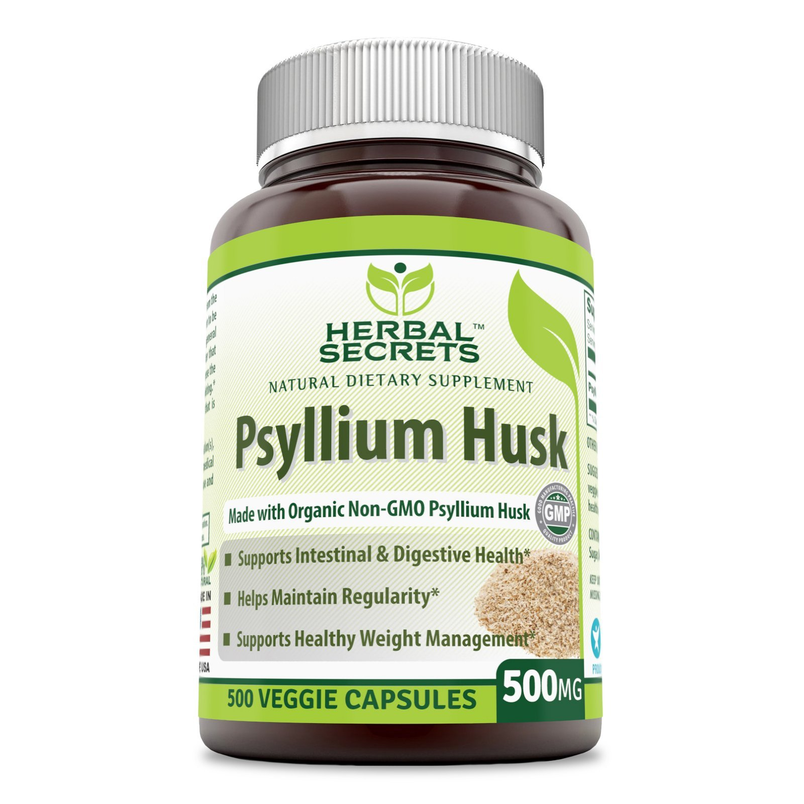 Herbal Secrets Psyllium Husk 500 Mg Veggie Capsules (Non-GMO) - Supports Intestinal & Digestive Health, Weight Management; Helps Maintain Regularity* (500 Count) by Herbal Secrets