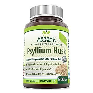 Herbal Secrets Psyllium Husk 500 Mg Veggie Capsules (Non-GMO) - Supports  Intestinal & Digestive