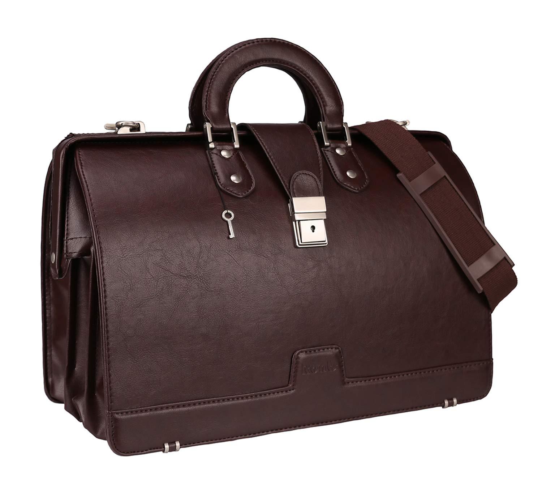 Ronts Lawyer's PU Leather Briefcase 15.6 Inch Vintage Laptop Bag Shoulder Bag Attach Case for Men Women,Brown