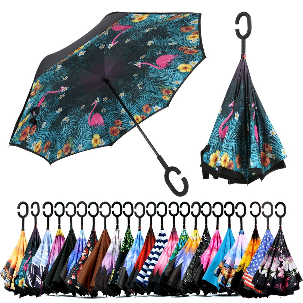 Spar. Saa Double Layer Inverted Umbrella with C-Shaped Handle, Anti-UV Waterproof Windproof Straight Umbrella for Car Rain Outdoor Use (Pink Flamingos)