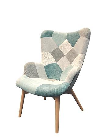 Meubletmoi Sessel Patchwork Skandinavischen Gewebe Blau Beige Grau