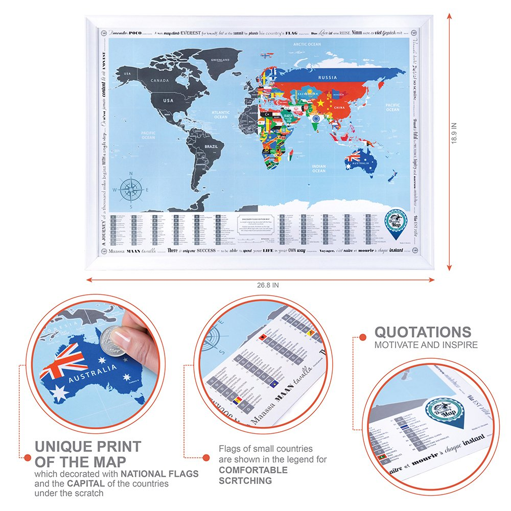 New! Framed World Map with Scratch off, Flags Edition (White Frame ...