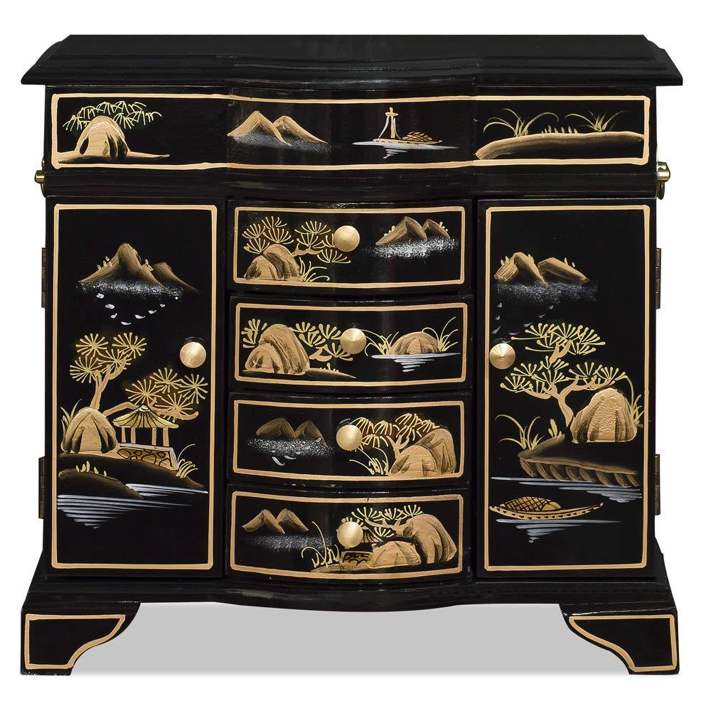 ChinaFurnitureOnline Chinoiserie Scenery Jewelry Cabinet, Black and Gold by ChinaFurnitureOnline