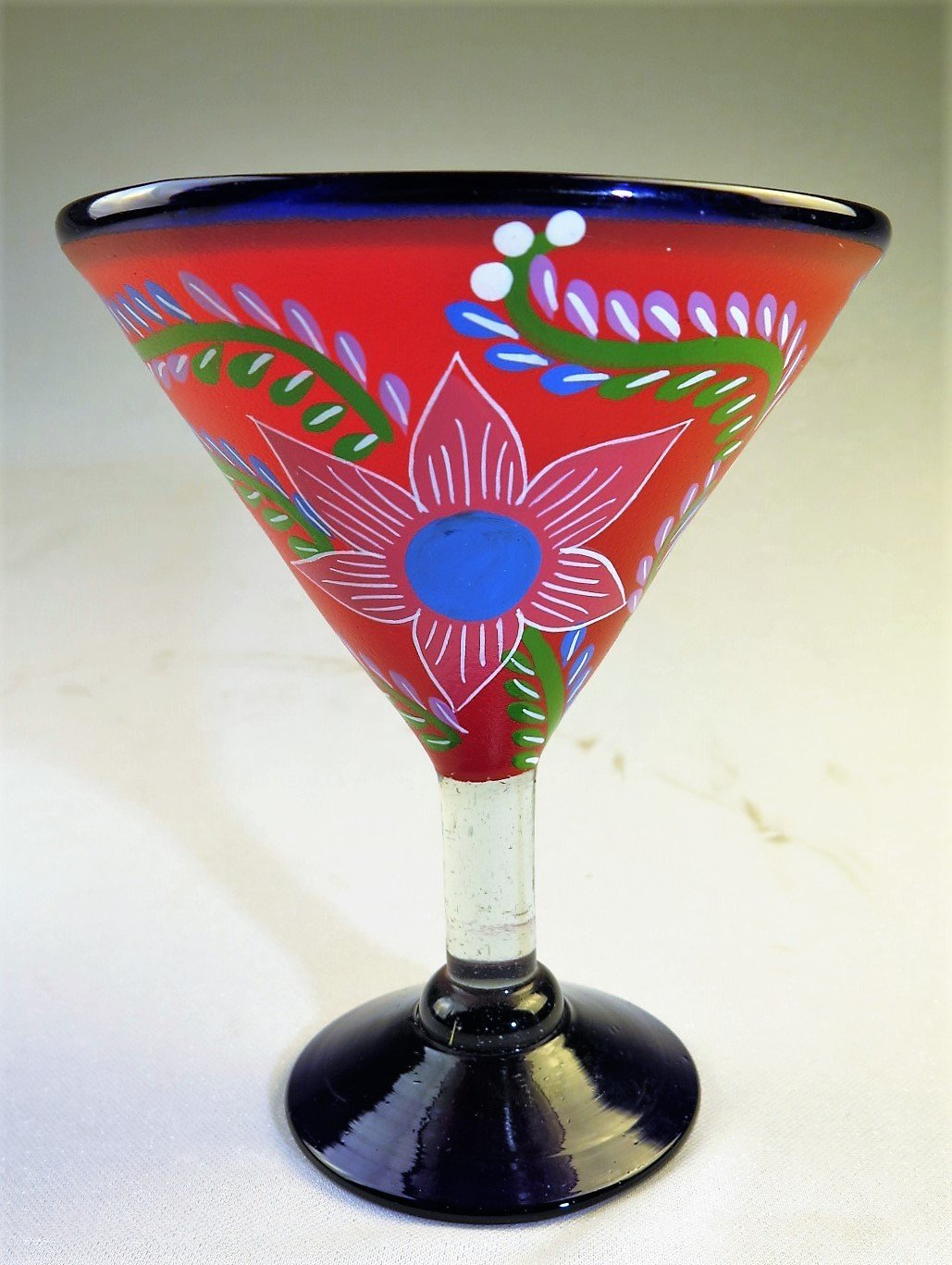 Mexican Glass Margarita Martini Hand Painted Flowers, Mixed, 14 Oz, Set of 4 by Mexican Margarita Glasses (Image #9)
