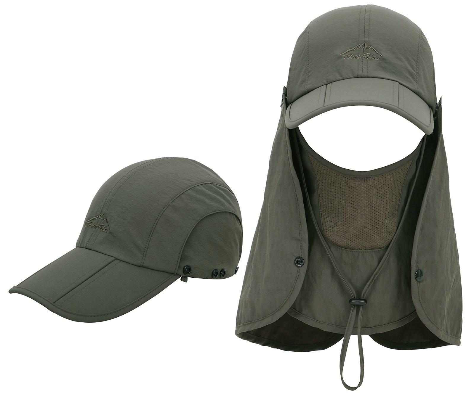EPYA Sun Hat Outdoors Quick Dry UV Protection Safari Hat w/Flap Neck,Army Green by EPYA (Image #2)