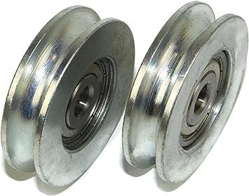 Pack de 2 ruedas de puerta corredera 59 mm de diámetro ranura redonda de acero fabricado en la UE: Amazon.es: Bricolaje y herramientas