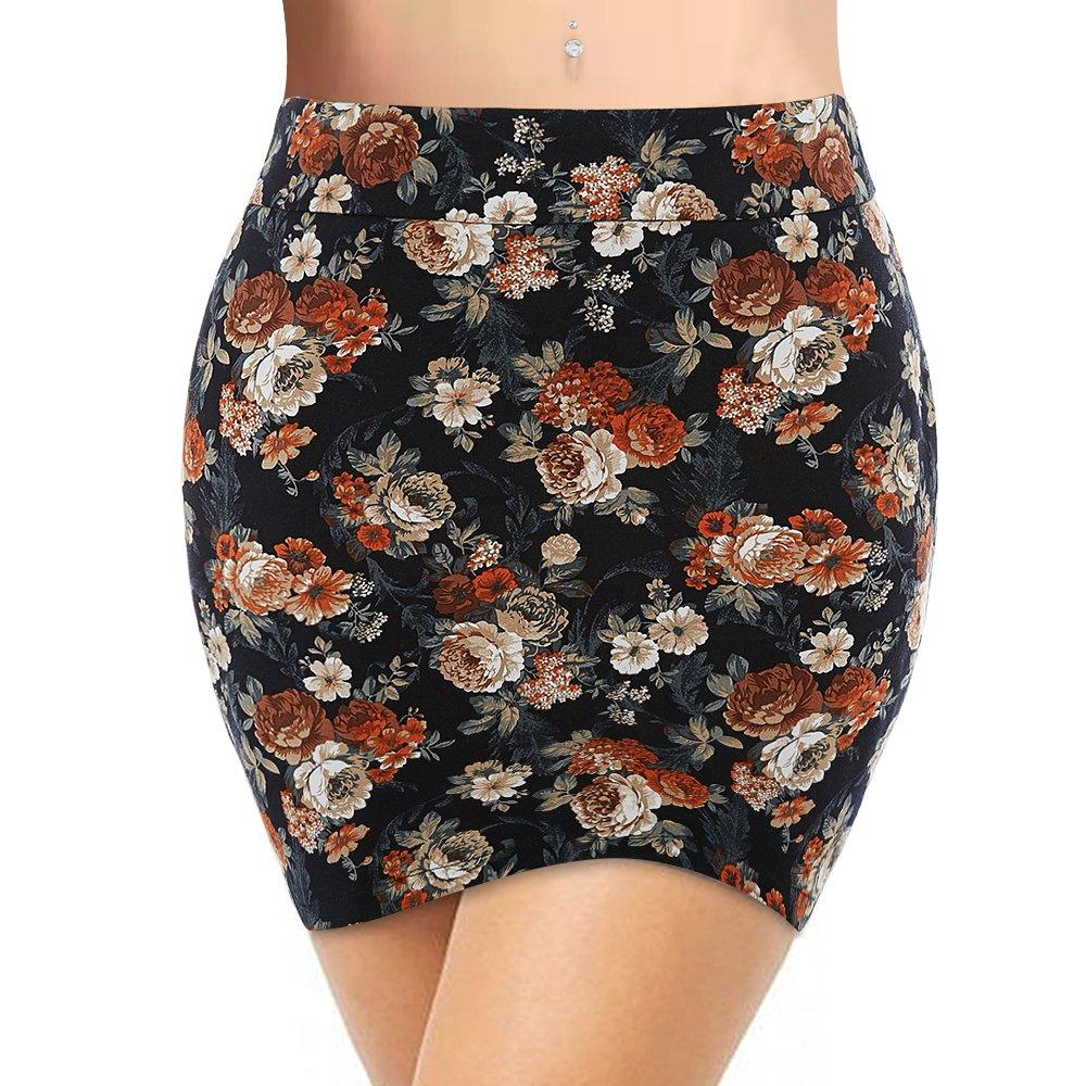 QANZEEKI Colorfast Pencil Skirts Elastic High Waist Knee Length Bodycon Bandage Skirt for Office P002