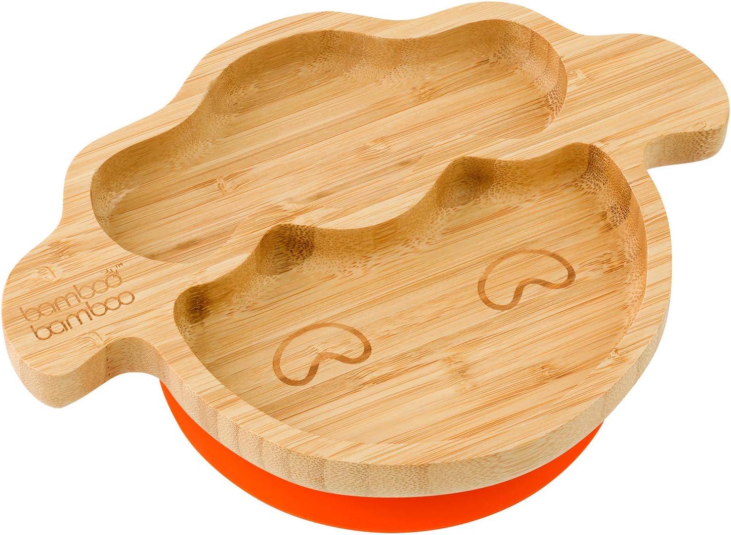 Piatto per bambini e neonati con ventosa per tenerlo fermo in bamb/ù naturale
