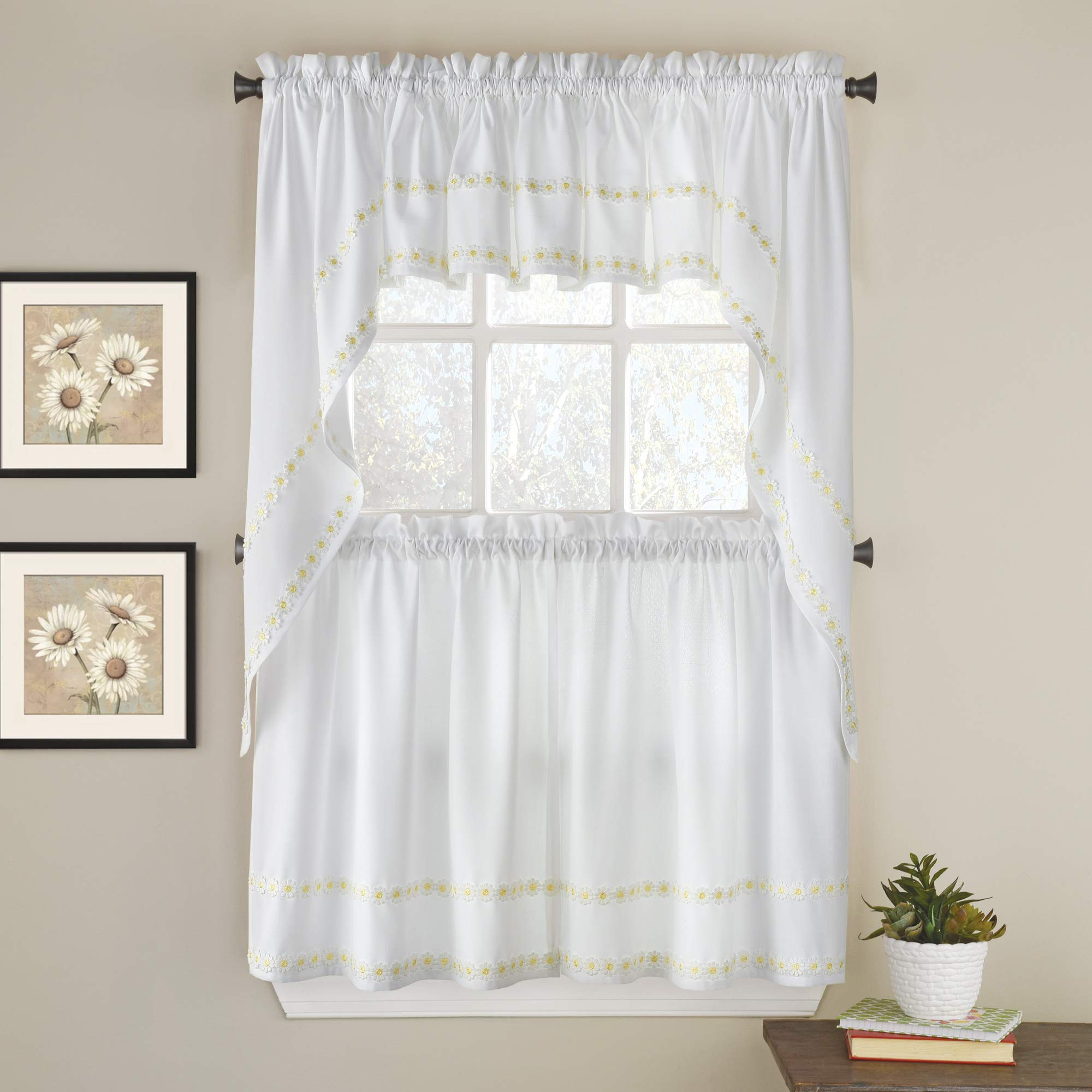 Sweet Home Collection Kitchen Window Curtain 5 Piece Set with Valance, Swag, and Choice of 24'' or 36'' Tier Pair Daisy Mae Yellow by Sweet Home Collection