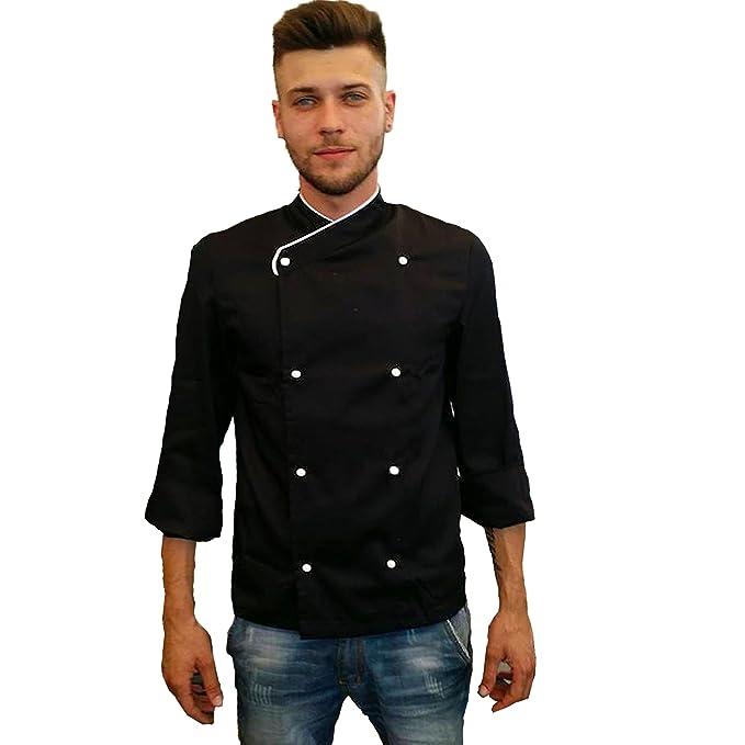 Petersabitidalavoro Giacca Cuoco Unisex Ristorante da Lavoro Nera Cotone  Piquet Cucina MasterChef  Amazon.it  Abbigliamento 19d1b1f4b30c