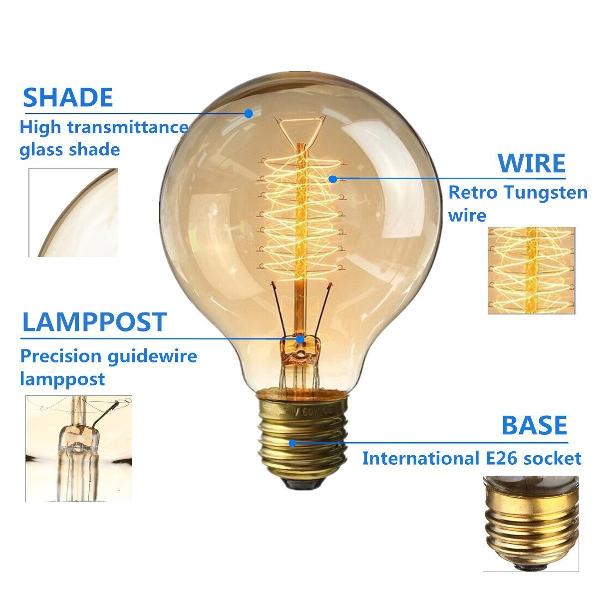 FBA/_KINGSOCecv714 KINGSO Vintage Edison Bulb 60W Incandescent Antique Dimmable Light Bulb Dimmable for Home Light Fixtures Squirrel Cage Filament E27 Base G80 110V 4 Pack