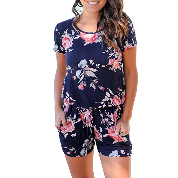 cf1ade676a Amazon.com  CHLZYD Women Floral Print Short Sleeve Jumpsuit Summer Playsuit  Beach Rompers XXL Navy  Clothing