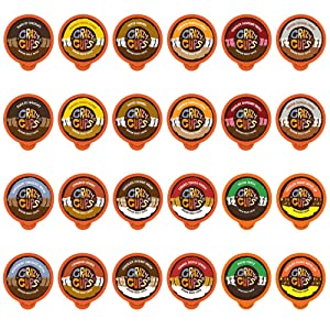 Flavored Coffee Pods VarietyPack - Coffee Flavors and ChocolateFlavors for The Keurig k Cups Machine Recyclable Single Serve Cups from Crazy Cups, 48 Count