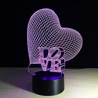 zqq 3d Night Light acrílico Corazones Regalo – Lámpara de mesa LED ...
